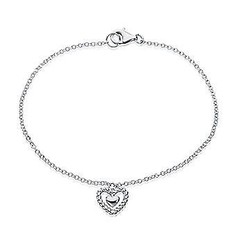 Eye Candy B01MQTFM8X Sterling 925 Gnawed Silver Women's Bracelet with Heart, 18.5 cm