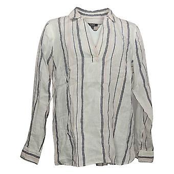 NYDJ mujeres top reg lino pullover túnica blanca A372192