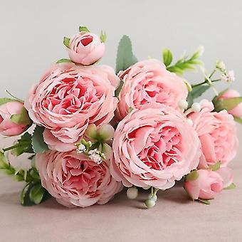美しいバラ人工シルクの花、小さなブーケ花瓶、家庭、パーティー