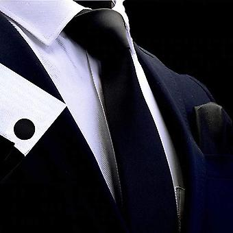 Plain solid black tie cuff link & pocket square set