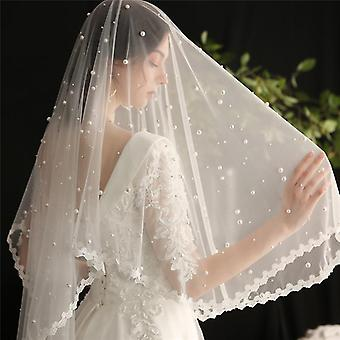 Hair Veil With Comb Freshwater Pearls Flower