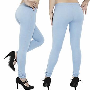 Ladies Denim Look Stretch Elasticated Slim Fit Jeggings, Sky Blue size 8