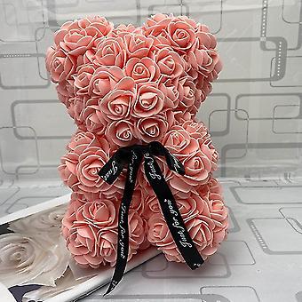 Valentinstag Geschenk 25cm Rote Rose Teddy Bär Rose Blume Künstliche Dekoration Weihnachtsgeschenke Frauen
