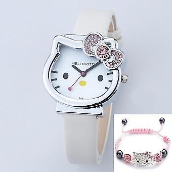 Cartoon cute mesh roestvrij staal quartz horloge, armband (white2-sliver-box)