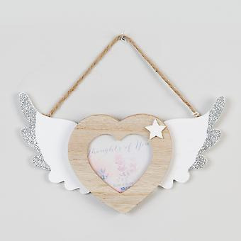 """3"""" x 3"""" - Thoughts of You Hanging Heart Frame mit Flügeln"""