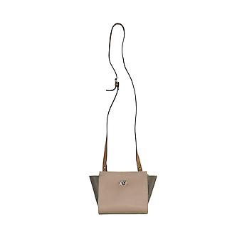 Pink/taupe shoulder bag with a long strap