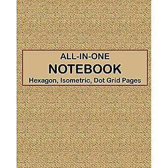 CARNET TOUT-EN-UN - Hexagone, Isométrique, Pages de grille de points: 4 types de papier de conception dans un livre - Voir la couverture arrière pour des échantillons - Tan Canvas