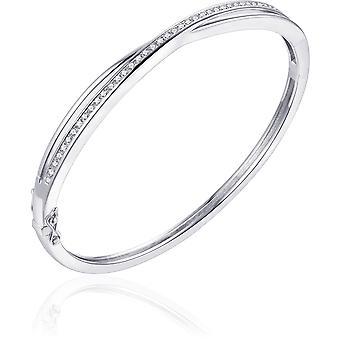 Gisser Jewels - Pulsera - Juego de brazaletes con Zirconia - 5mm de ancho - Talla 64 - Gerhodineerd Zilver 925