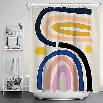 Rainbow Udskrivning Badeværelse Dekorative badeforhæng Vandtæt Polyester Stof (180cmx180cm)