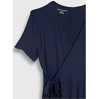 Essentials Kvinders Cap-Sleeve Faux-wrap Kjole