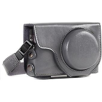 Ever Ready Leder Kameratasche mit Trageriemen kompatibel mit Panasonic Lumix DC-TZ95, DC-TZ90