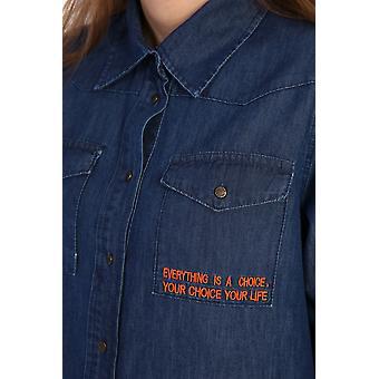 Geborduurde Lyocell Blended Shirt Tuniek