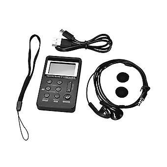 Universal Mini Radio Portátil AM/FM Dual com display LCD & Earphone & Bateria Recarregável