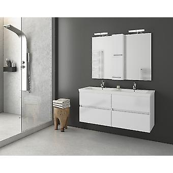 Set Mobili Luxus , Colore Bianco in MDF, Ceramica, LPB, Vetro, Alluminio, ABS, Unita' Base con Lavabo: L120xP40xA50 cm