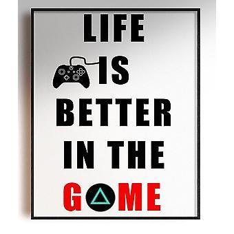 GnG Gaming A5 Word Citat Indrammet Plakater for Kids Soveværelser Artwork Life er bedre PS