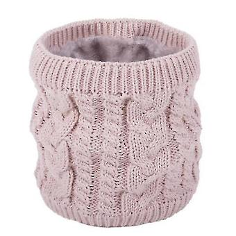 Neck gaiters warm scarf in winter, all-match knitted scarf for couples, pure color plus velvet scarf(pink) #699