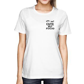 Piges søde men psyko hvid lomme T-shirt hvid sommer slid For tilbage til skolen