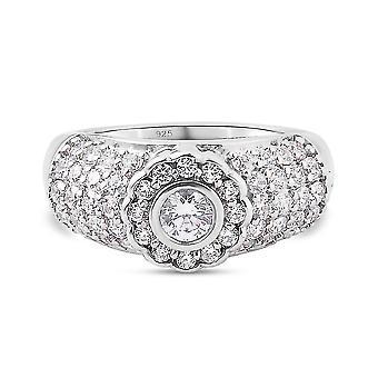J Francis Halo Ring Swarovski Zirkonia Silber Jubiläumsgeschenk 2.54ct