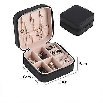 10x10x5cm المحمولة مجوهرات مربع منظم عرض السفر مجوهرات صناديق علبة تخزين الجلود