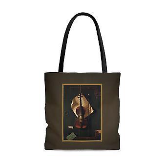 Premium polyester tote bag - vintage art #202 violin | artsy tote bag, graphic tote bag, aesthetic tote bag, birthday gift idea