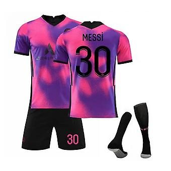 Messi 30 Jersey 2021-2022 New Season Paris Soccer T-shirts Jersey Set For Kids Youths