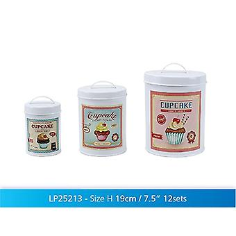 Set of 3 Retro Cupcakes Round Tins Storage Canisters Household Kitchen