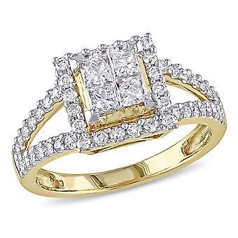 1.00 Carat (ctw G-H I2-I3) Princess-Cut Diamond Engagement Ring in 14K Yellow Gold