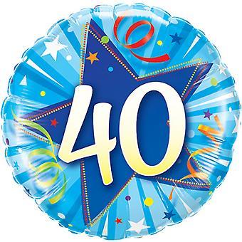 Qualatex 18 tums 40 år lysande blå stjärnan cirkulär folie födelsedag ballong