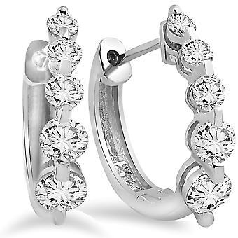 1ct diamant Hoop boucles d'oreilles 14K or blanc