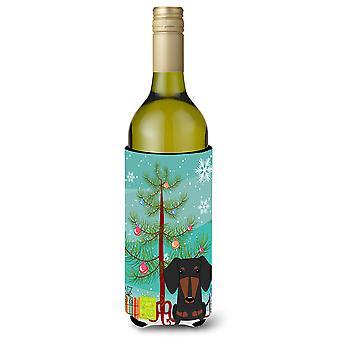 Merry Christmas Tree mäyräkoira musta Tan Viini pullo Beverge eriste Hugger