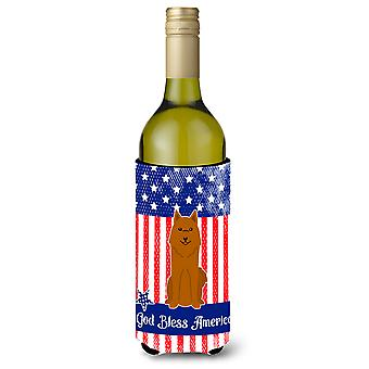 Patriotic USA Karelian Bear Dog Wine Bottle Beverge Insulator Hugger