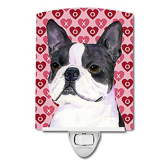 Boston Terrier Hearts Love Valentine's Day Ceramic Night Light