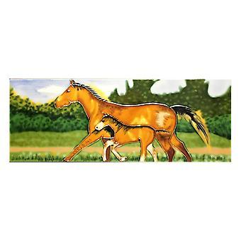 "YH Arts Ceramic Wall Art, Horse Love 6 x 16"""