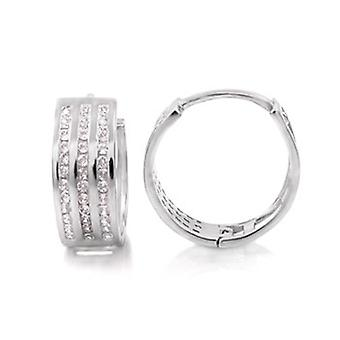 Sterling 925 zilver HOOP earrings - BLING koning 14 mm