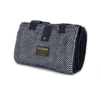 Tweedmill tempo libero/Picnic tappeto con Tweed Pocket & impermeabile - Fishbone Navy/Navy