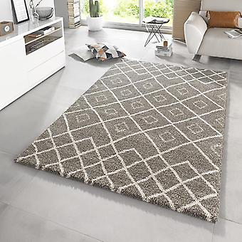 Design high pile carpet Maison taupe cream