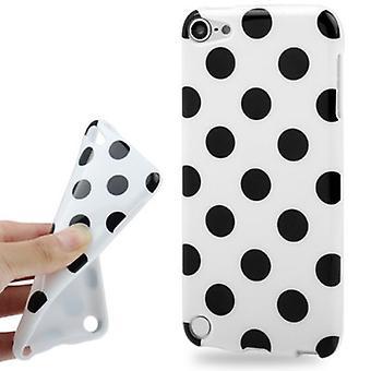 Mobiele behuizing punten voor Apple iPod touch 5 wit/zwart