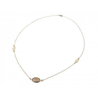 925 Silver gold plated ladies - necklace - 45 cm - smoky quartz - Moonstone - brown - white-