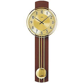 Quartz wall clock wall clock with pendulum quartz solid wood lacquered Walnut colours