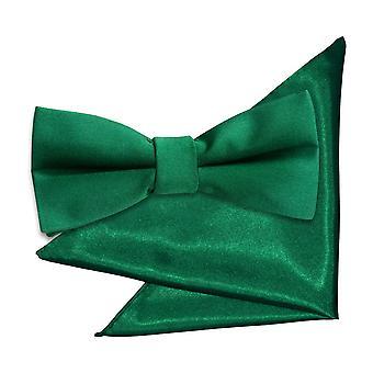 Smaragdgroene effen satijnen strikje & Pocket vierkante set voor jongens