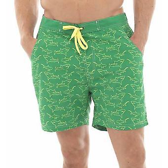 Tom Franks Shark Print Summer Beach Swim Pool Shorts With Mesh Liner