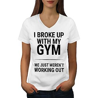 Sarcastic Gym Funny Women WhiteV-Neck T-shirt | Wellcoda