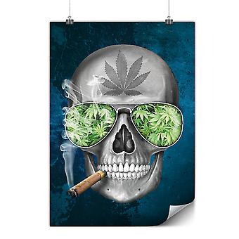 Matte or Glossy Poster with Skeleton Smoke Weed | Wellcoda | *d2115