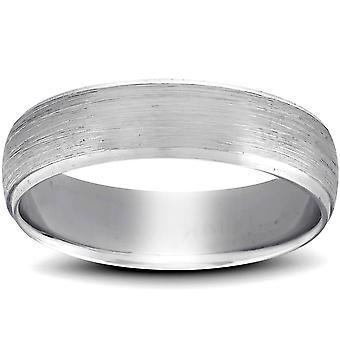 Platinum Wedding Band Mens geborsteld schuine Ring 6mm met gepolijste randen