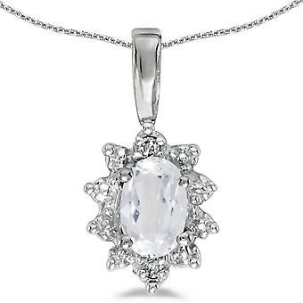 LXR 10k Bianco Oro Ovale Bianco Bianco Topazio e Pendente di Diamante 0.48ct