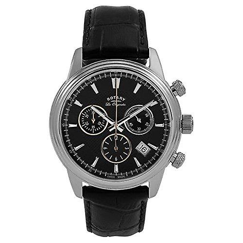 Rotary Monaco Silver Black Leather Strap Watch Mens GS90125/04 40mm
