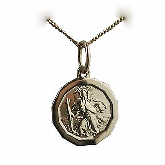 18ct Gold 13x13mm plain dodecagonal St Christopher Pendant with a curb Chain 20 inches