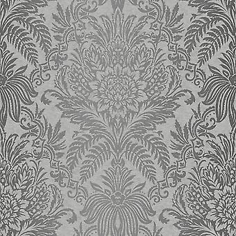 Damask Wallpaper Luxury Silver Grey Metallic Shiny Floral Leaf Crown