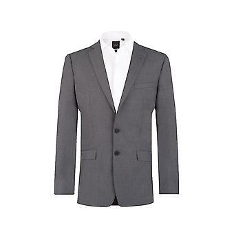 Dobell Herre grå Sharkskin Suit jakke Slim Fit Notch revers