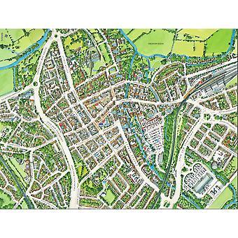 Stadsbilder Street karta över Salisbury 400 bit pussel 470 x 320 mm (HTF)